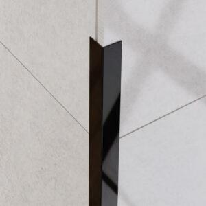 Kątownik dekoracyjny czarny polerowany - do glazury - stalowy