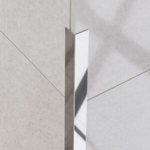 Kątownik dekoracyjny srebrny polerowany - do glazury - stalowy