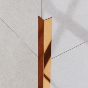 Kątownik dekoracyjny stalowy polerowany - do glazury - kolor miedziany