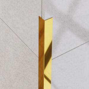 Kątownik dekoracyjny złoty polerowany - do glazury - stalowy