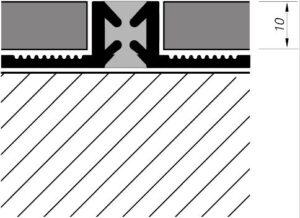 Listwa dylatacyjna do płytek i glazury ALD10 rysunek techniczny