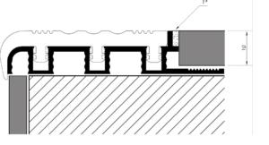 Listwa schodowa aluminiowa szeroka nakładka antypoślizgowa Rysunek techniczny
