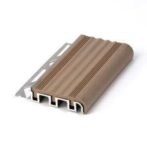 Listwa schodowa aluminiowa szeroka z nakładka antypoślizgowa z PCW beżowa