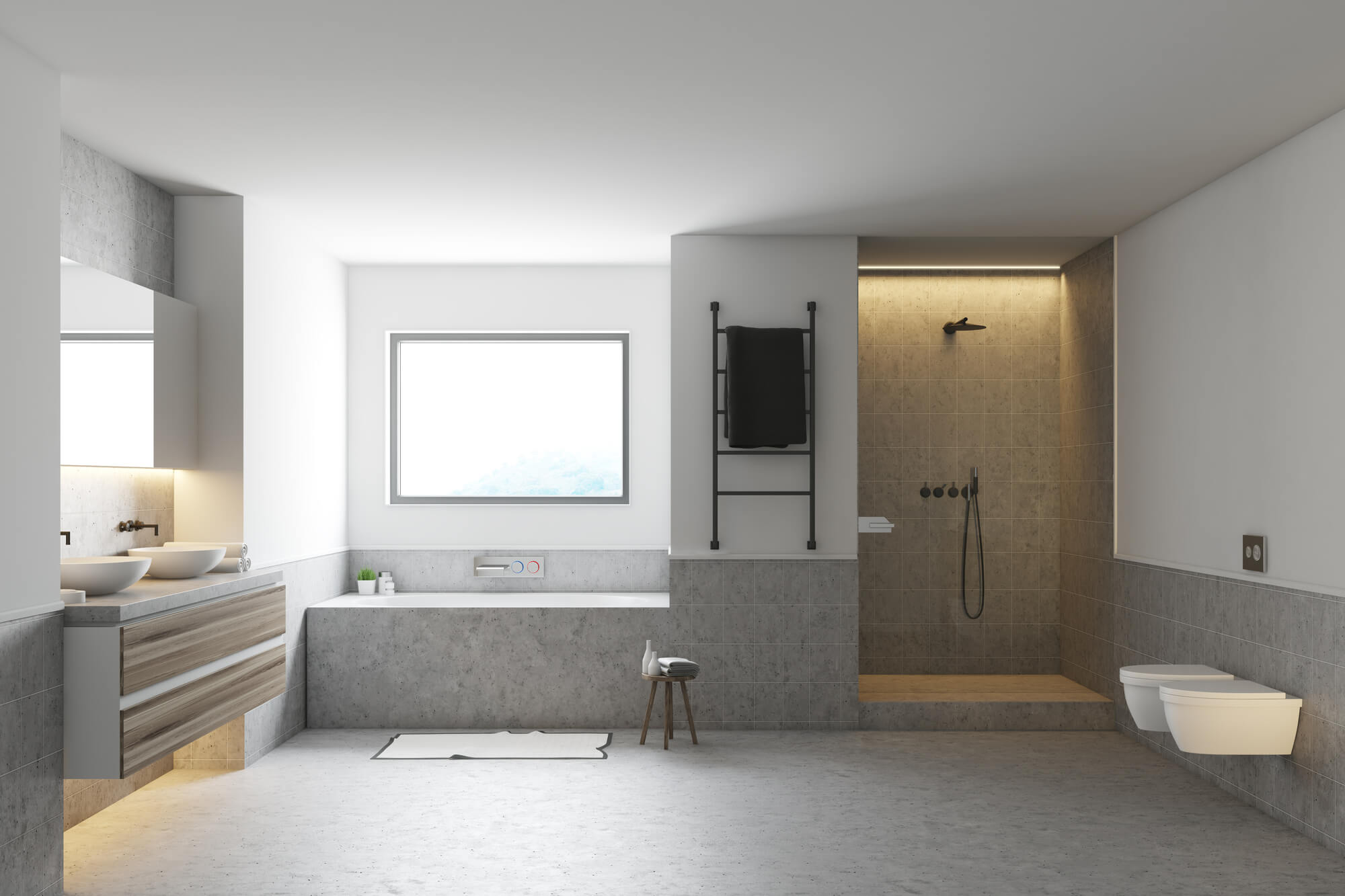 Biała półka pod prysznic