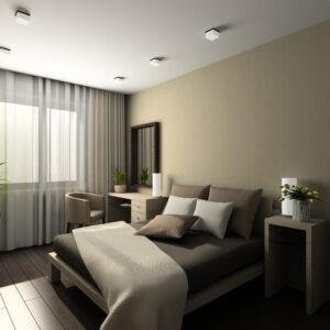 Ciemna podłoga w sypialni - płytki