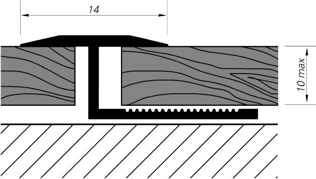 listwa łącząca płytki z panelami typu T rysunek techniczny