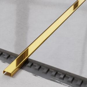 metalowa listwa dekoracyjna C stalowa złota polerowana