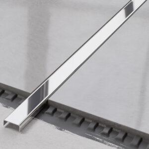 metalowa listwa ozdobna C stalowa srebrna polerowana