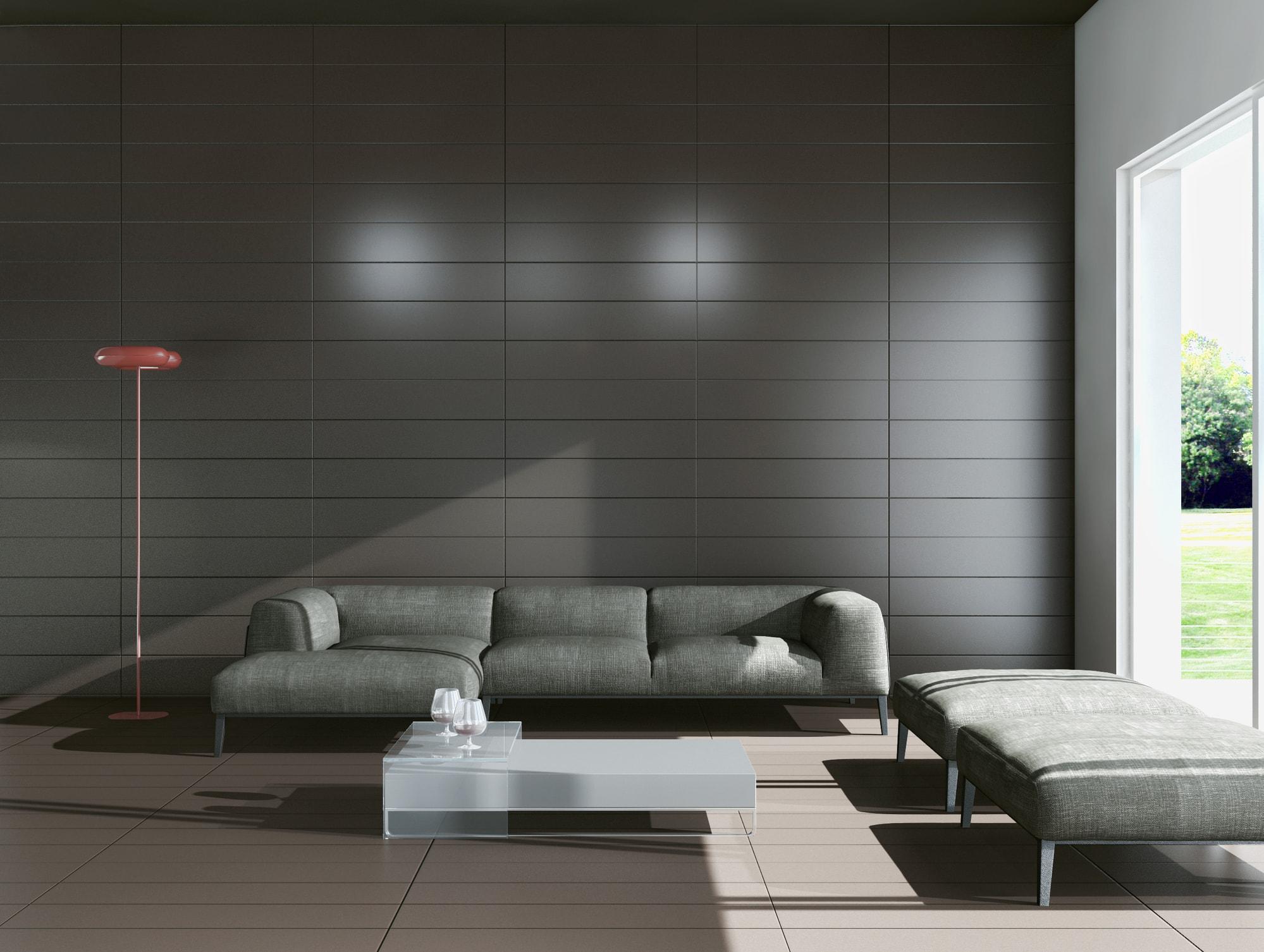 Płytki w salonie na ścianie - ciemne