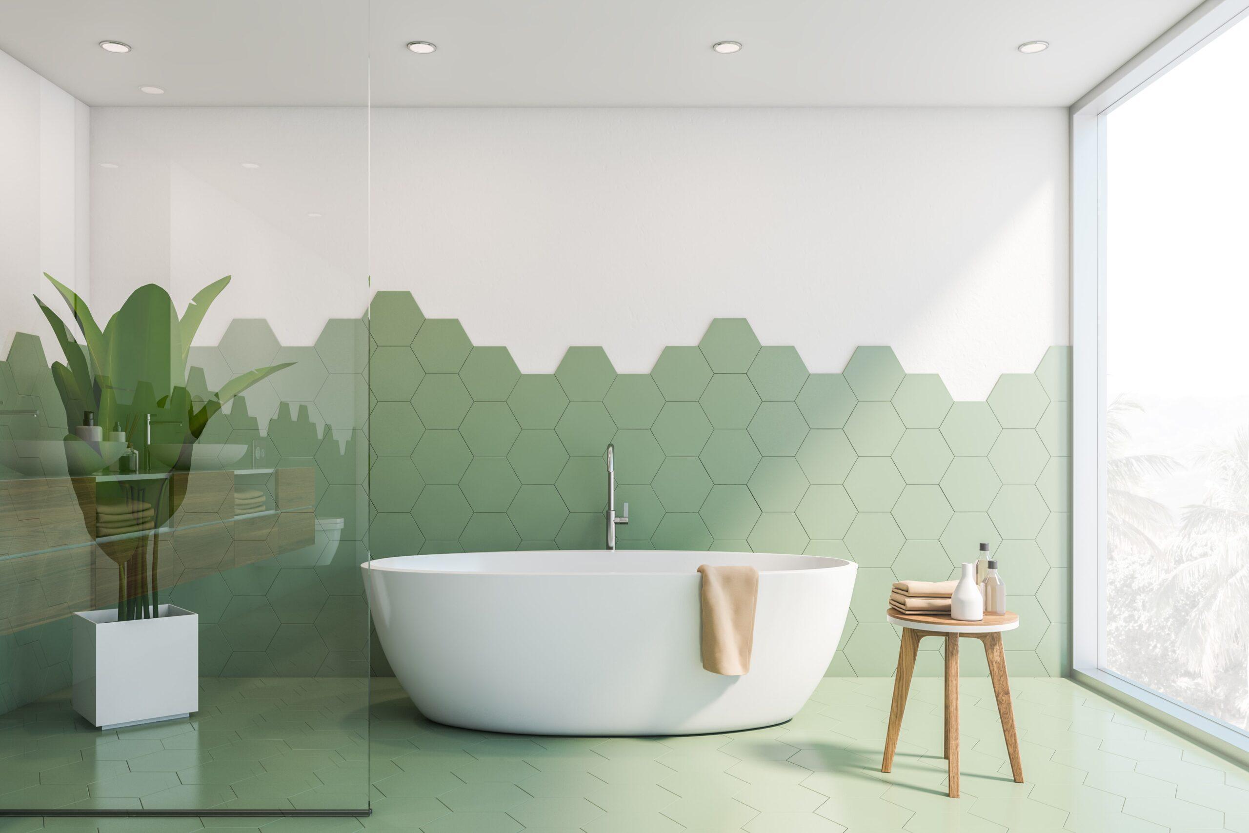 Płytki podłogowe do łazienki - heksagonalne