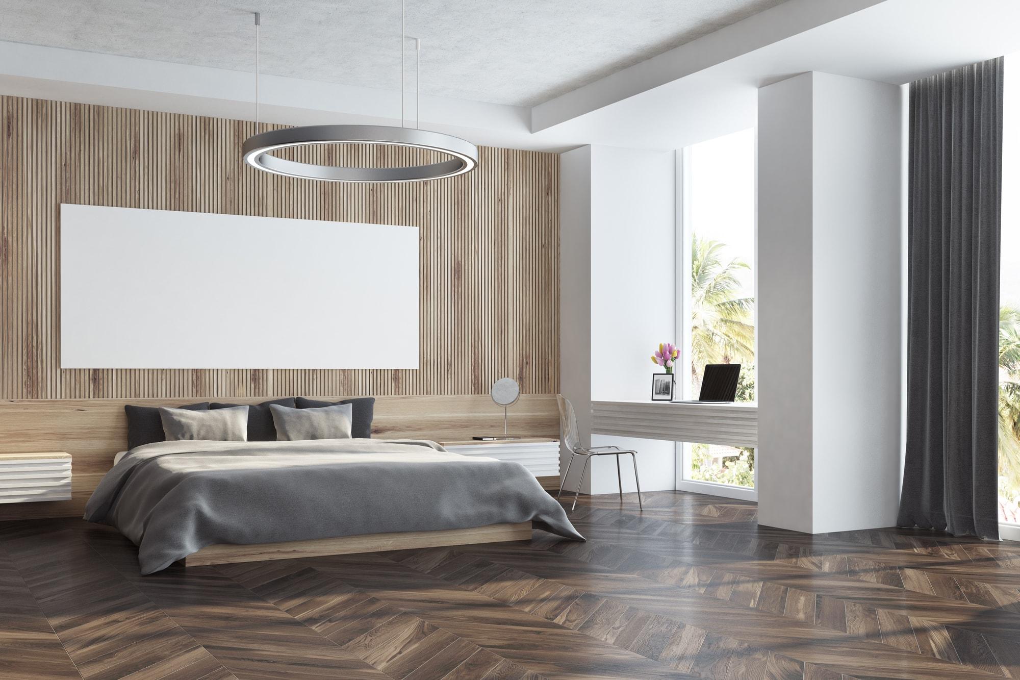 Płytki w sypialni - imitujące drewno