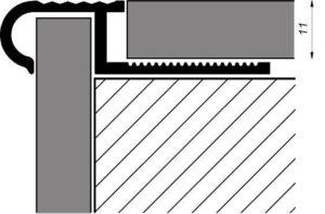 półokrągły profil schodowy do płytek w kolorze oliwkowym rysunek techniczny